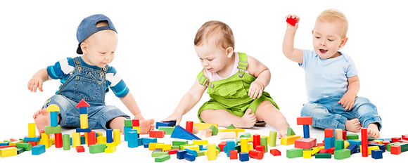 children playing with toy blocks